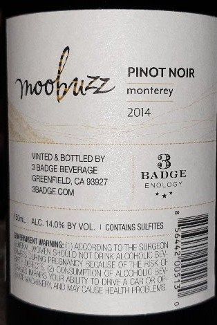 Moobuzz, Pinot Noir 2014, Monterey, Central Coast Californien 14%